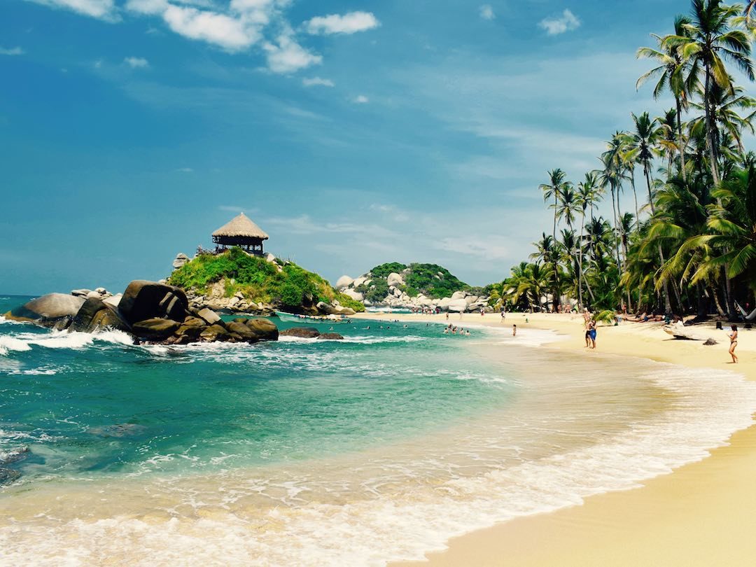 View of beach in Parque Tayrona from the Colombia 2 week itinerary