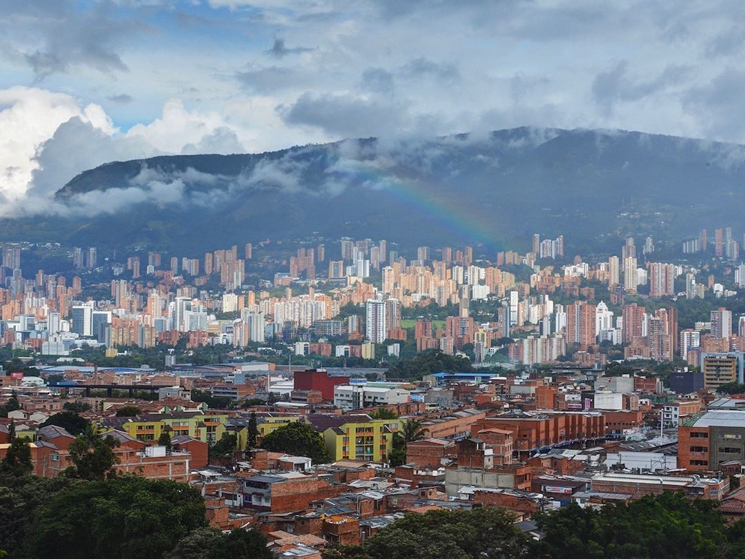 Rainbow showing over the city of medellin