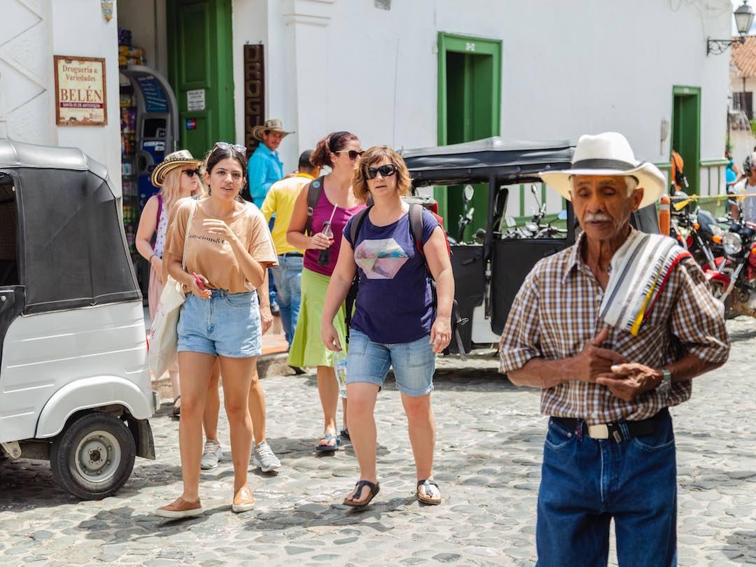Small group walk towards La Piedra del Penol on Colombia 1 week tour