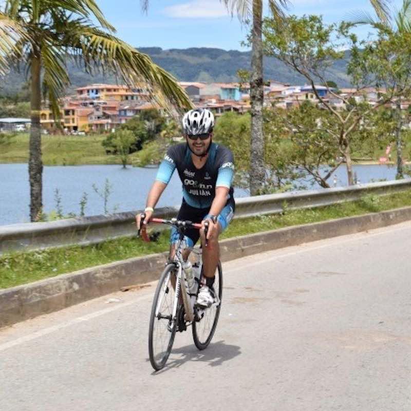 Cyclist during guatape triathlon colombia