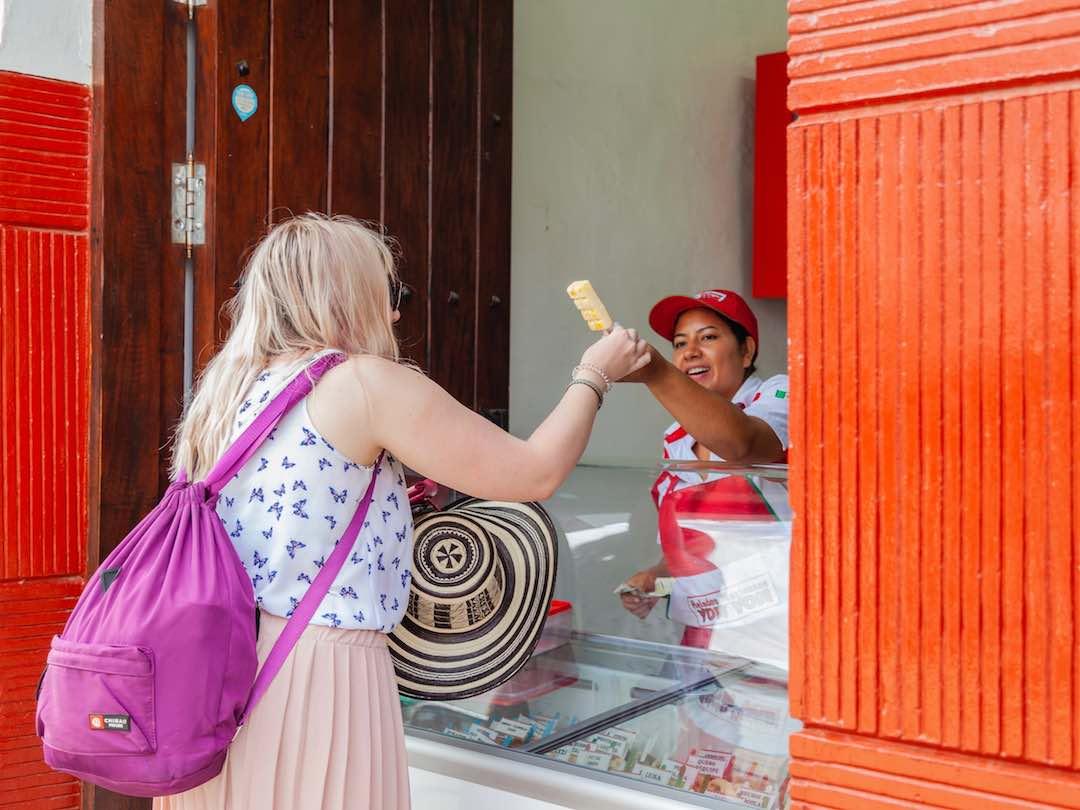 Buying helado in Colombia