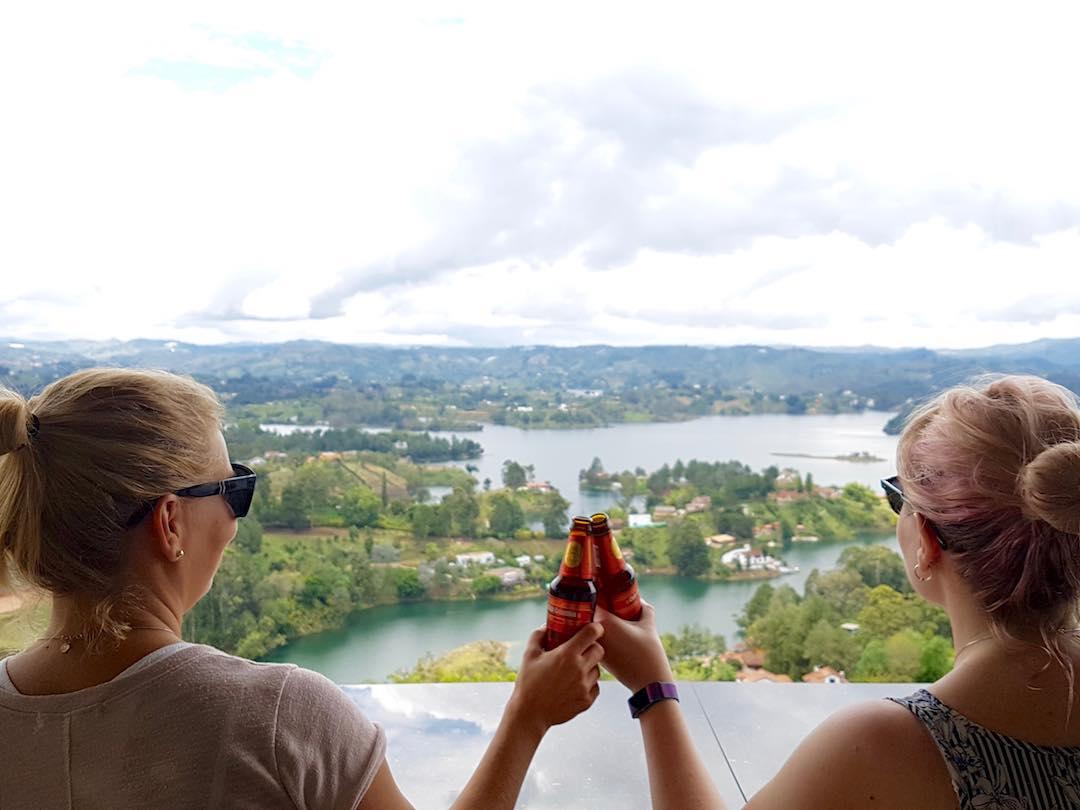 Enjoying a Colombian beer overlooking the guatape reservoir