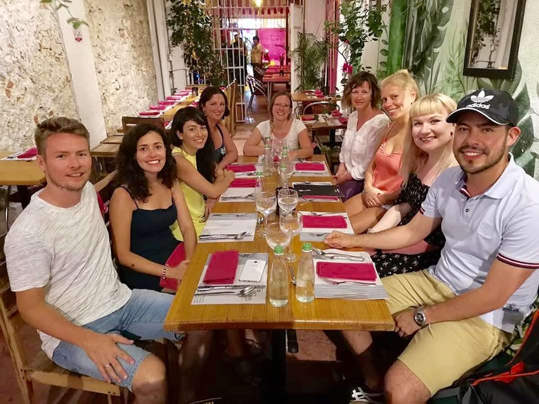 Colombia group tour eating dinner at restaurant interno cartagena