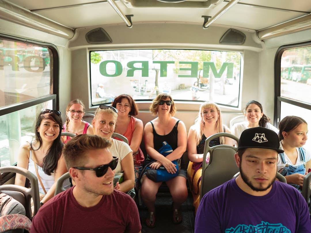 colombia 2 week itinerary: catching bus in medellin