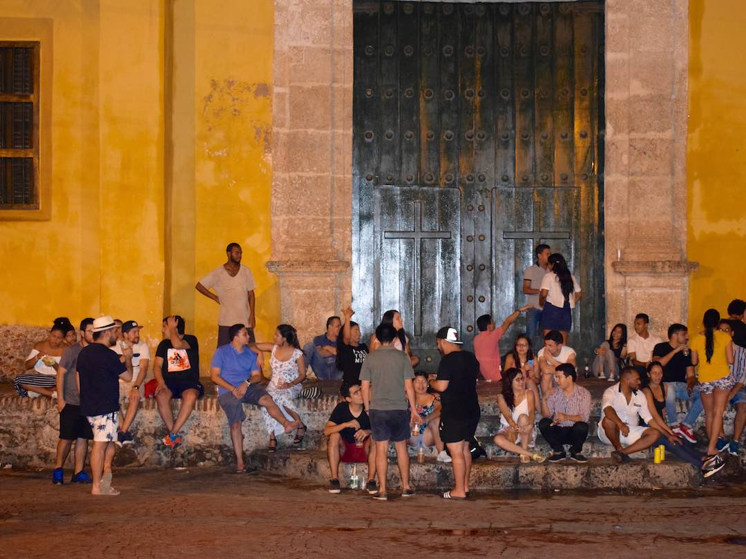 Nightlife at plaza trinidad, getsemani, cartagena