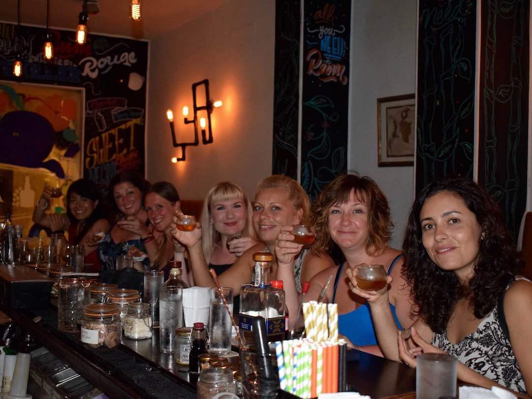 Female travel group rum tasting cartagena, colombia