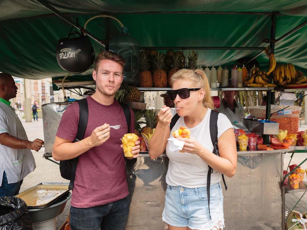 Eating fruit in Medellin, Colombia