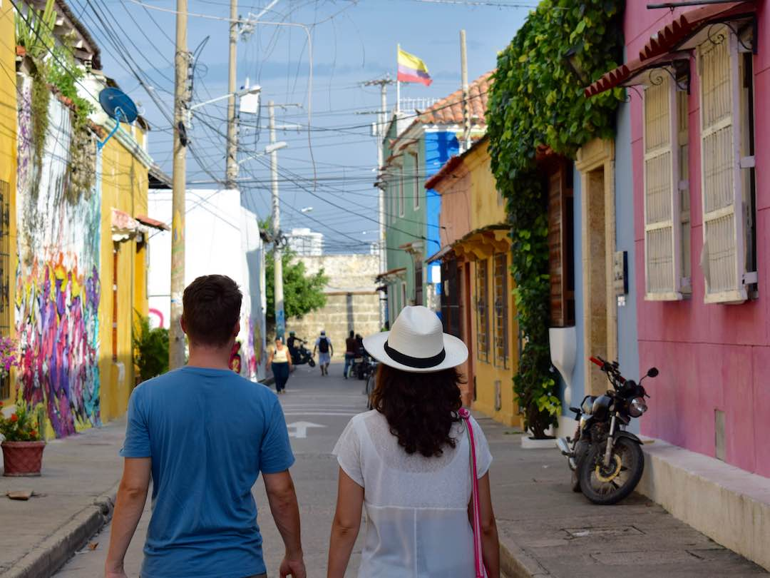 2 weeks in colombia: Other Way Round co-founders walking the colourful streets of cartagena, colombia