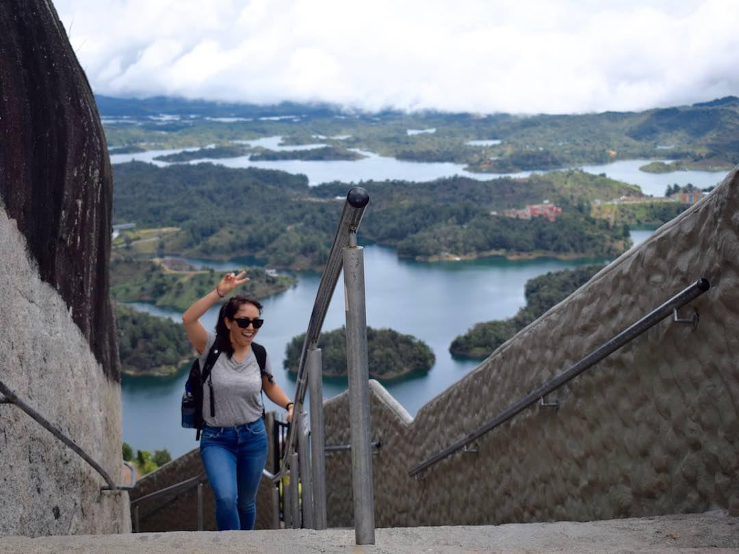 Climbing la piedra del penol, antioquia, colombia