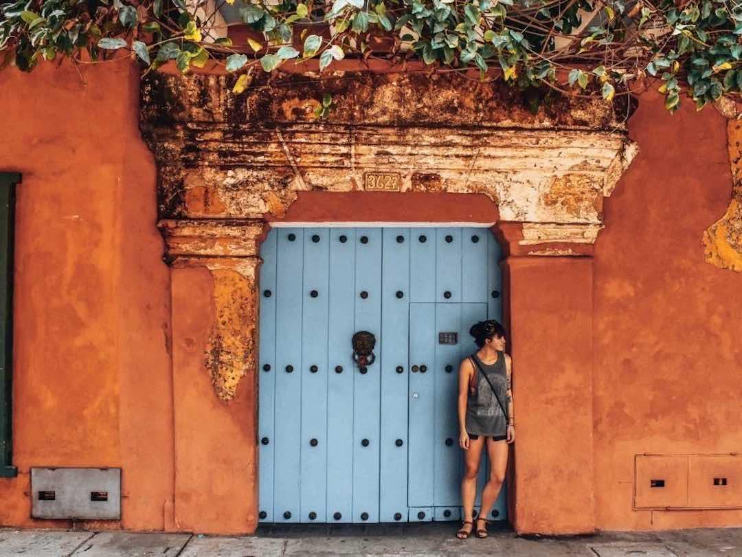 Colorful doorway in Cartagena, Colombia