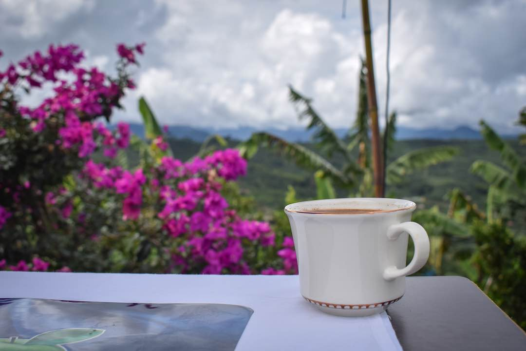 Distant view over Colombia's coffee region