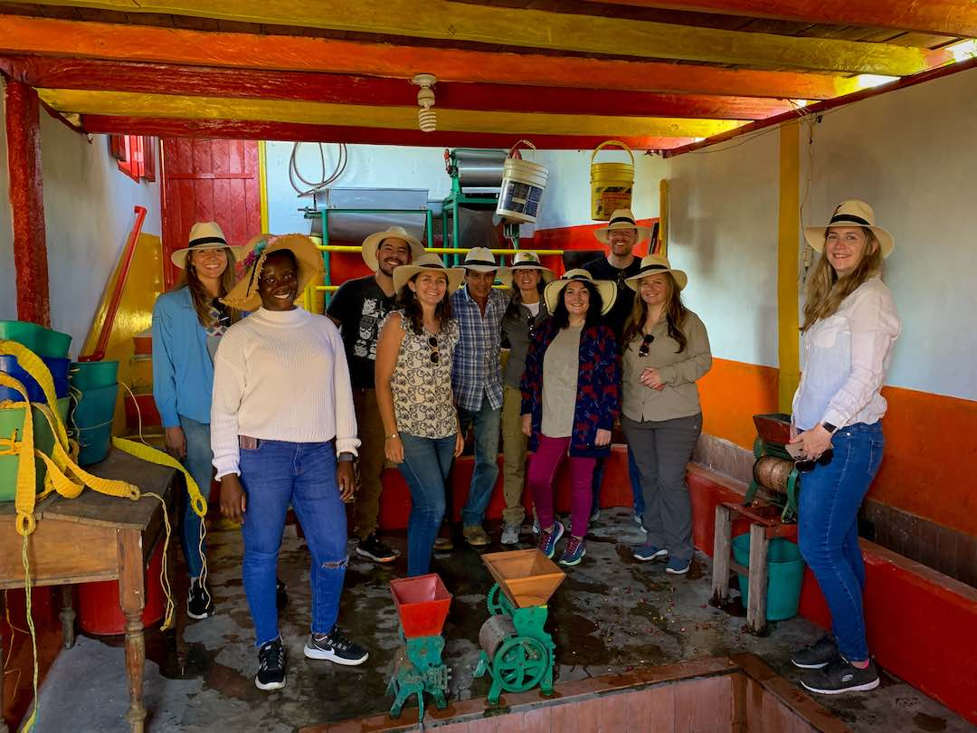 Group tour of coffee farm in Colombia