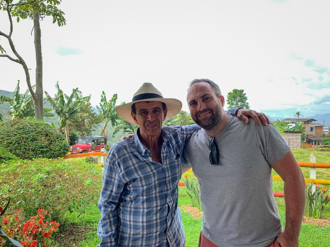 Colombian Coffee farmer photo with Other Way Round guest