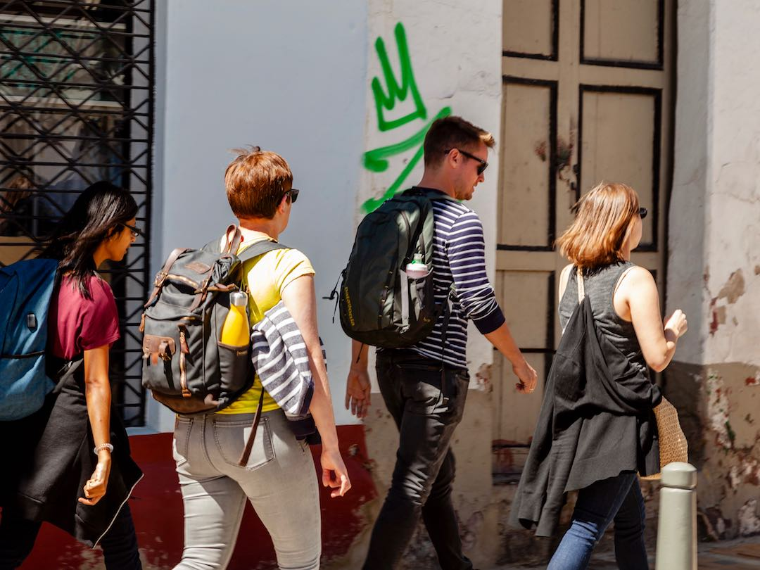 Other Way Round travel group wandering streets of Peru