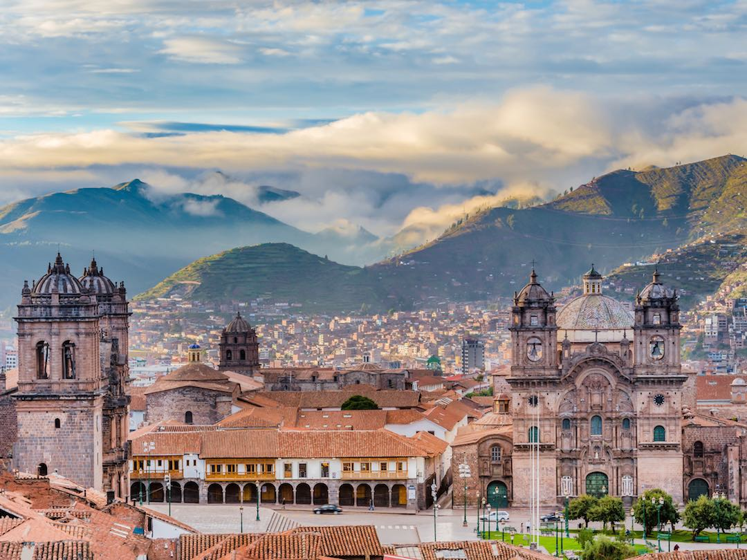 View of city of Cusco during an escorted tour of Peru