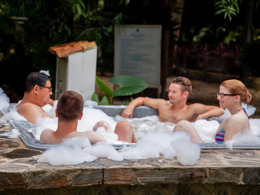 Enjoying hot tub during downtime on 2 week Colombia tour