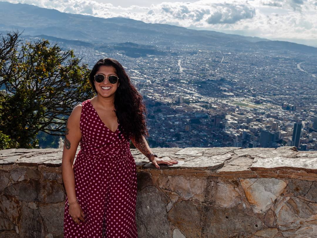 Other Way Round traveller overlooking Bogota during escorted group tour of Colombia