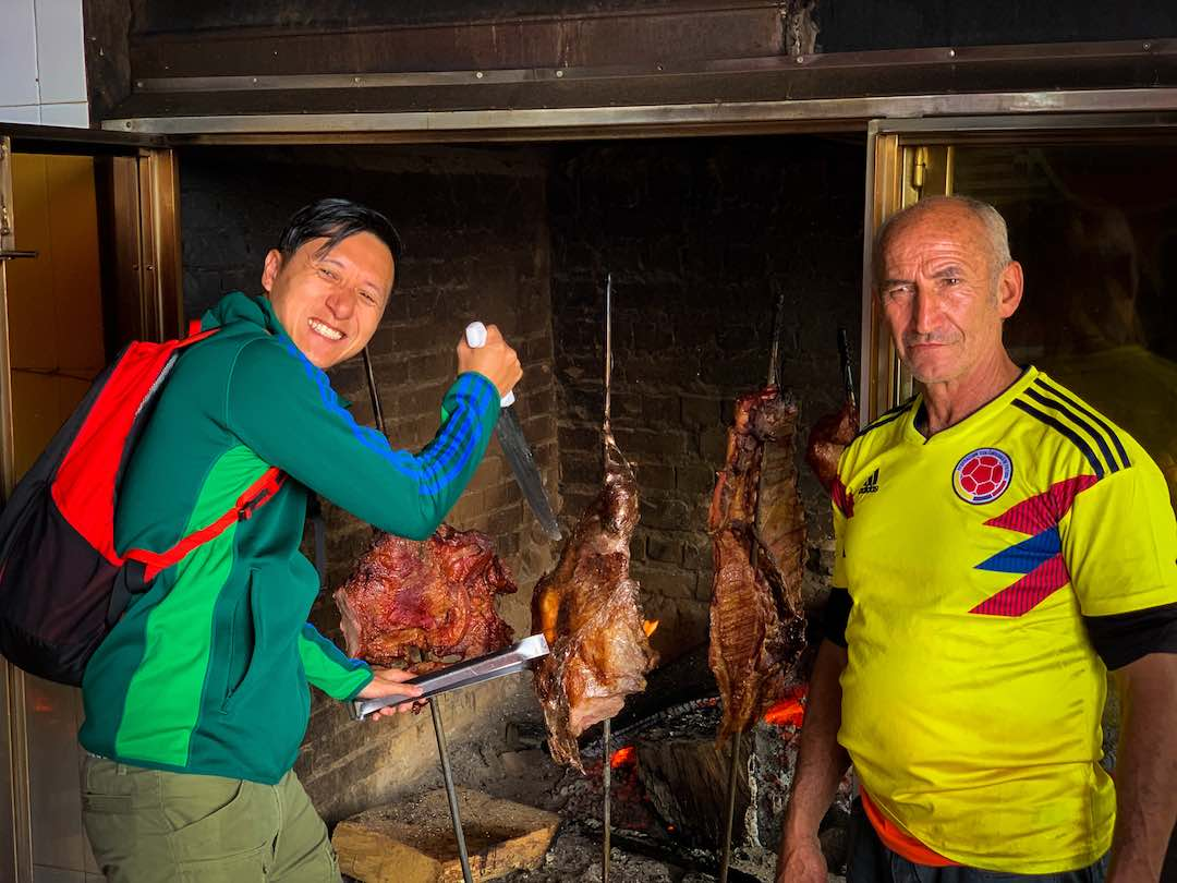 Tasting traditional food during group tour of Colombia
