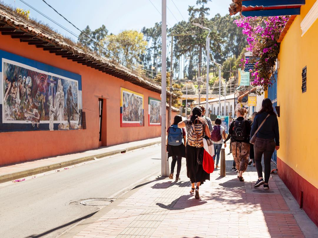 Tour group wandering the streets of Zipaquira, Colombia
