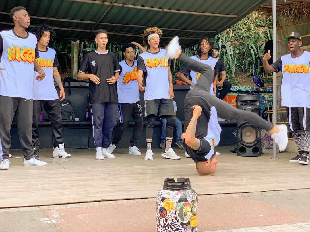 Admiring break dancing during Colombia tour