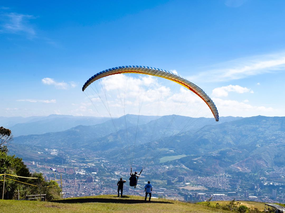 Paragliding of mountains of Medellin Colombia during my Colombia tour
