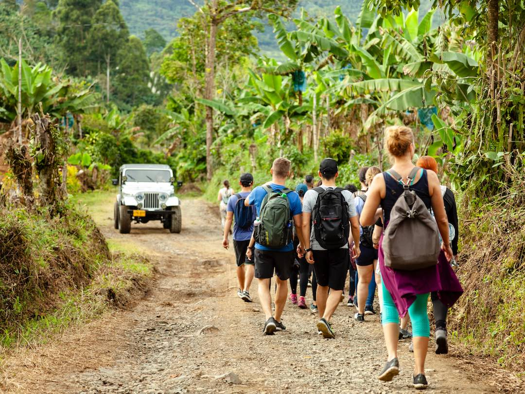 Other Way Round tour group hiking the Andes in Jardin colombia