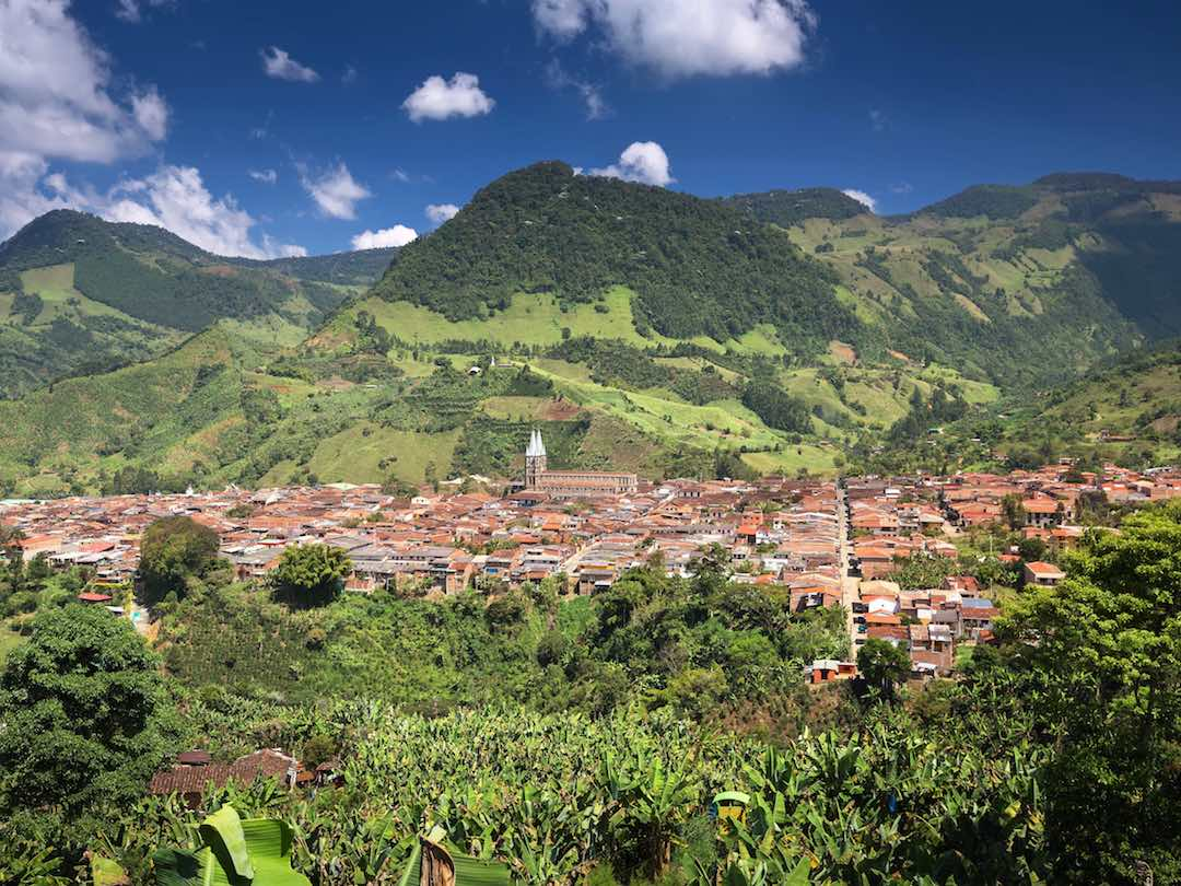 Overlooking the beautiful town of Jardin, Colombia