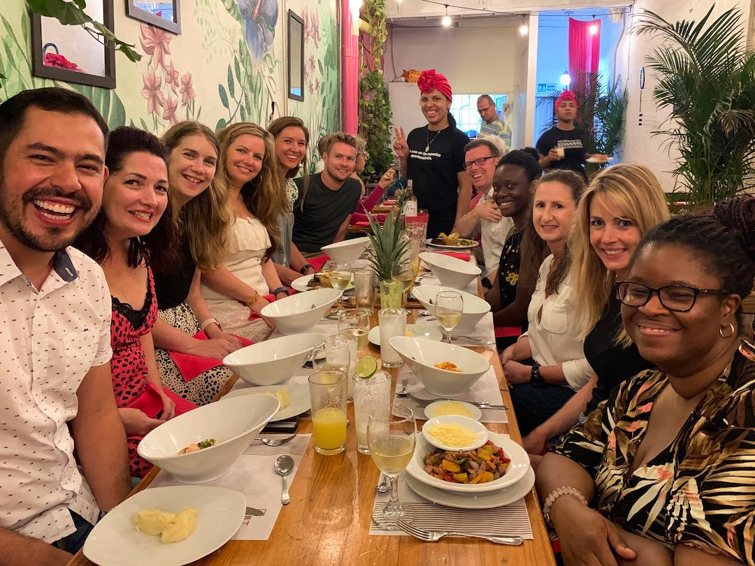 Group dinner during Other Way Round Colombia tour