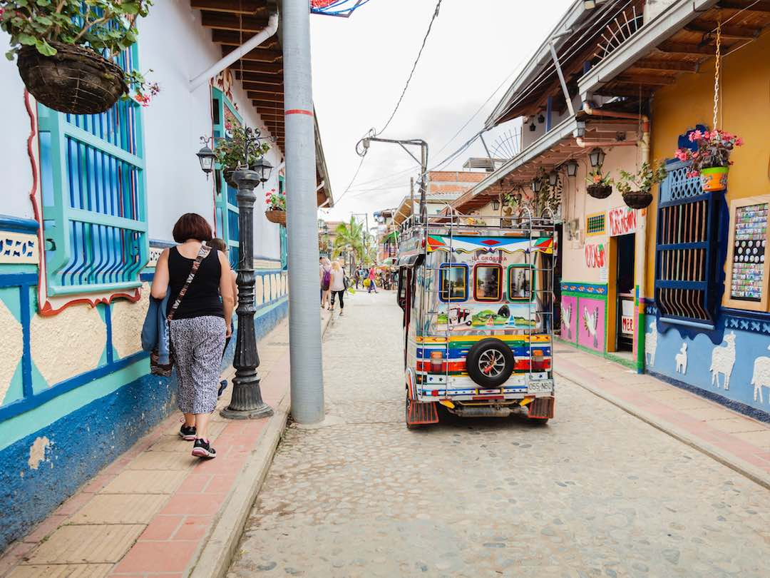 Walking colorful streets of Guatape, Colombia