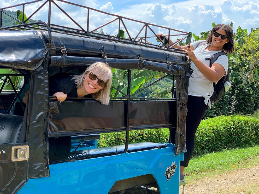 Riding jeep to coffee farm during our Colombia small group tour