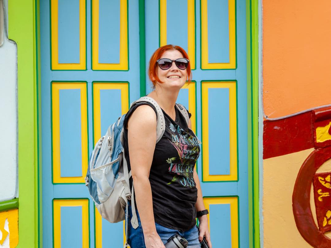 Solo traveller in guatape during Colombia small group tour