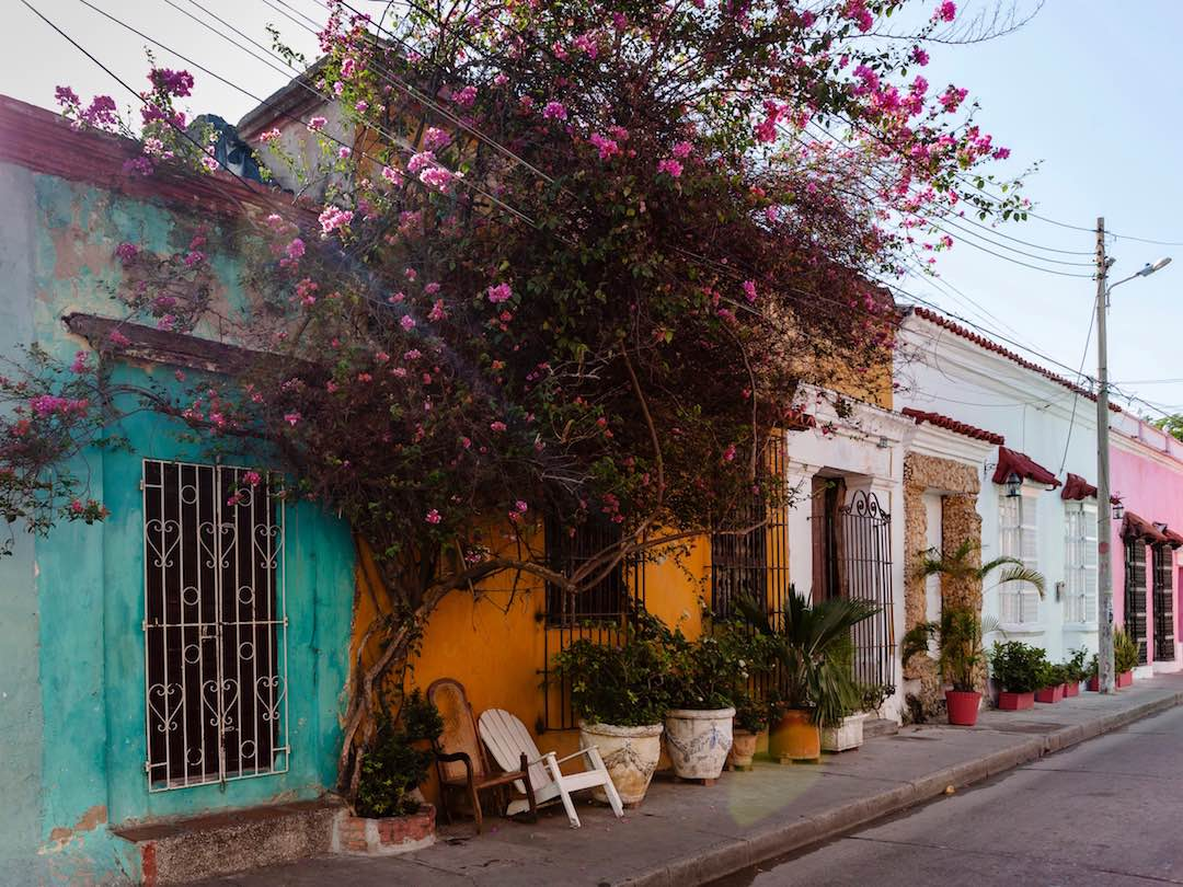 Colourful streets of getsemani in cartagena colombia