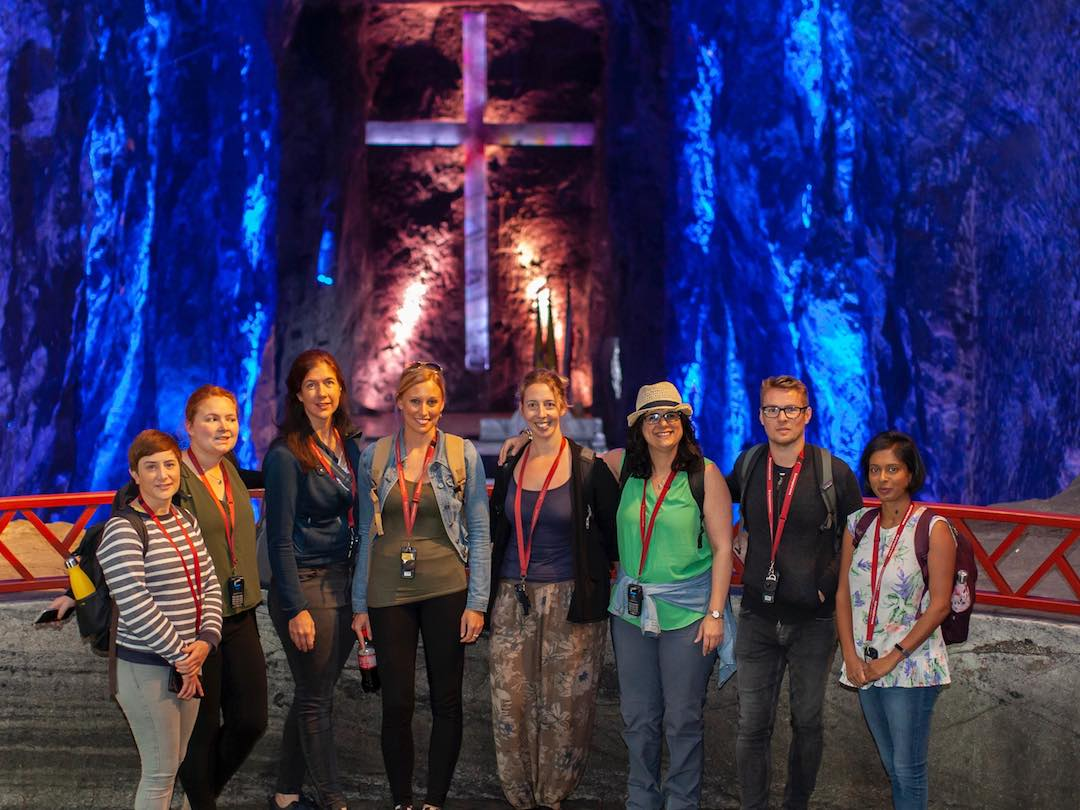 Travellers visiting zipaquira salt cathedral during group tour of colombia