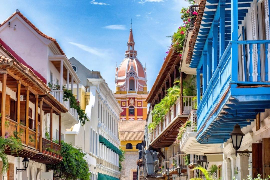 Cartagena street during small group tour to Colombia