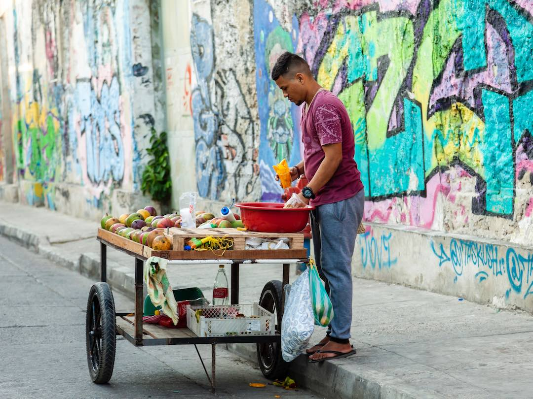 Street vendor in cartagena during our group tour of colombia