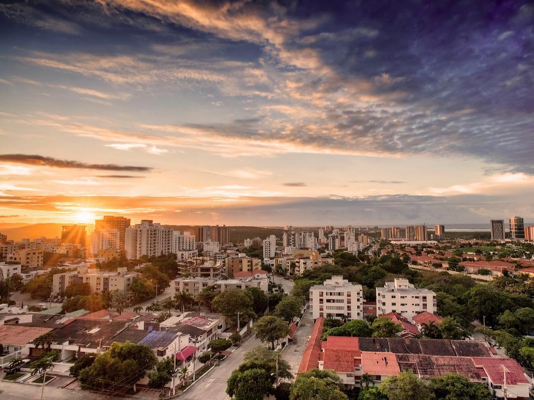 Sun setting over the city of Santa Marta Colombia