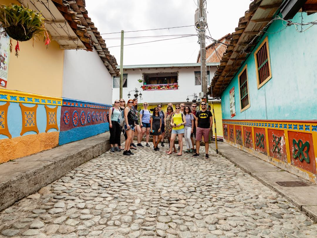 group of travellers in guatape colombia