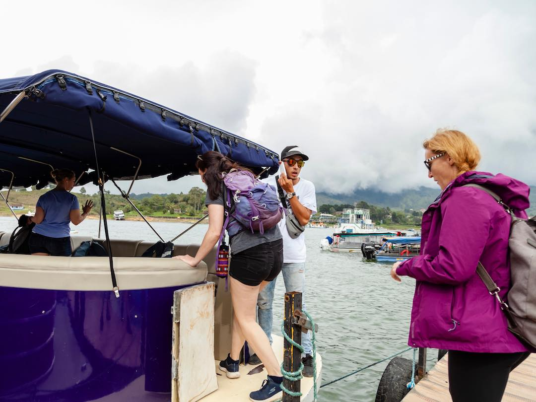 taking a boat trip in the reservoir of guatape