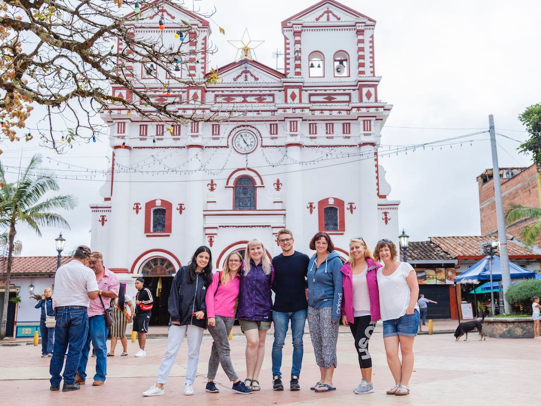 Admiring the beautiful church in the centre of guatape colombia