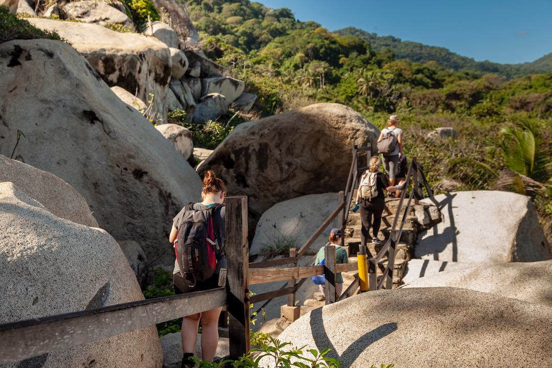 hiking trails through jungles of tayrona national park colombia