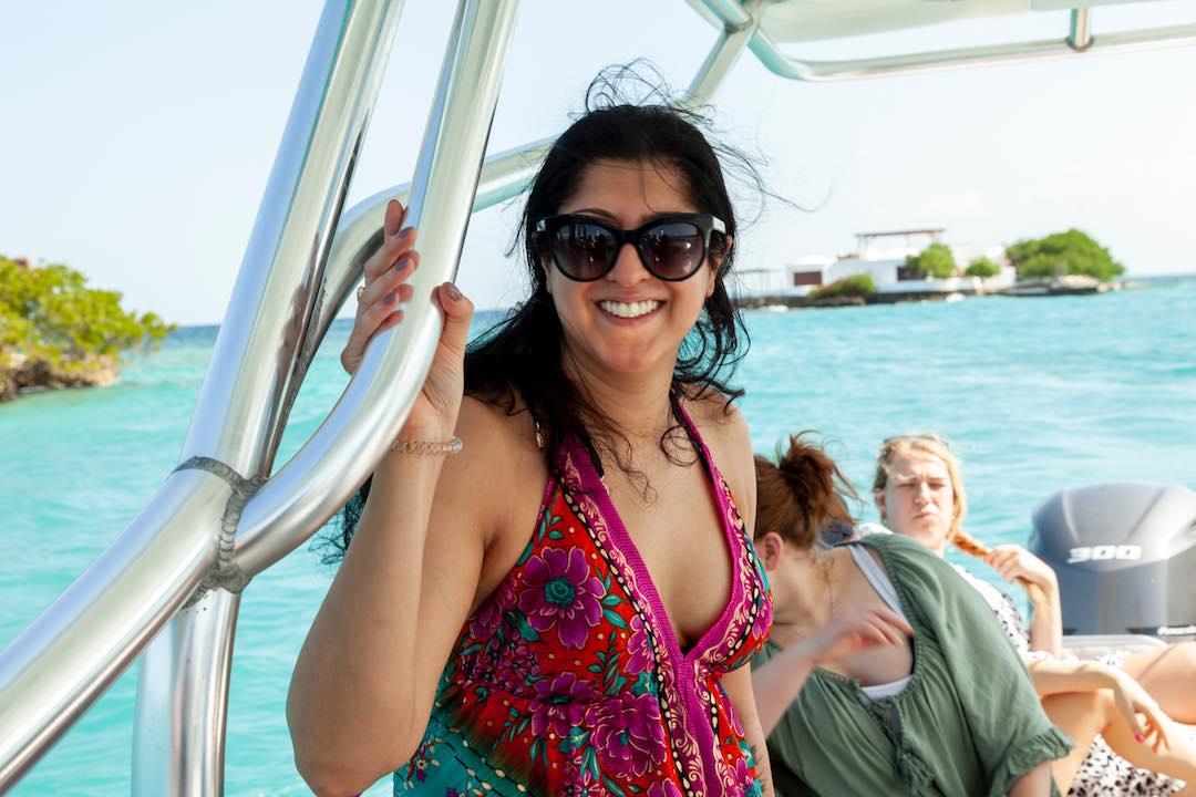 Solo female traveller boat ride